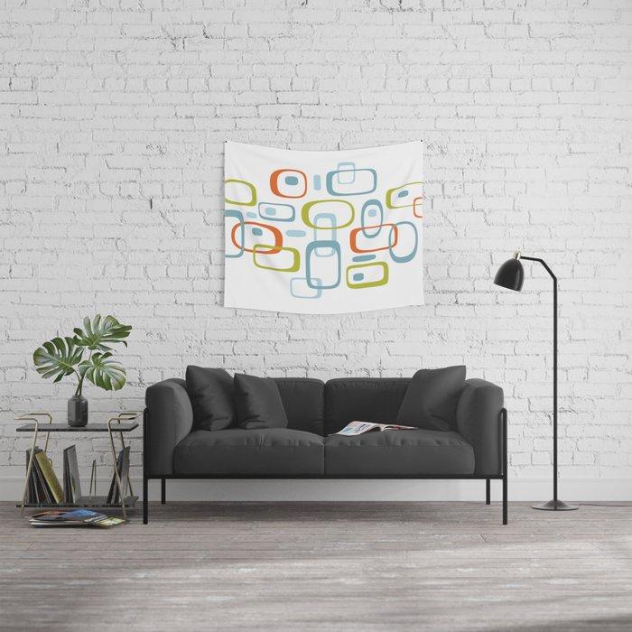 1950s Retro Organic Pattern Wall Tapestry