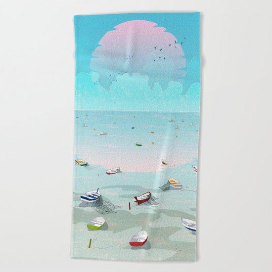 Between two waters Beach Towel