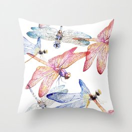 Dragonfly Pack Pink and Blue Throw Pillow