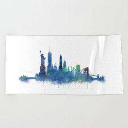 NY New York City Skyline NYC Watercolor art Beach Towel