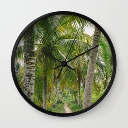 Rice field path between palm trees - Ubud, Bali, Indonesia - Travel Photography fine art wall print Wall Clock