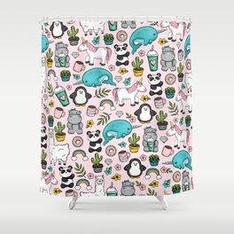 Llama and Friends, Tween Print, Narwhal, Panda,Unicorns, Penguins, Emoji Art Print Shower Curtain