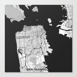 San Francisco Map Gray Canvas Print