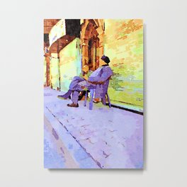 Two old men sitting in the street Metal Print