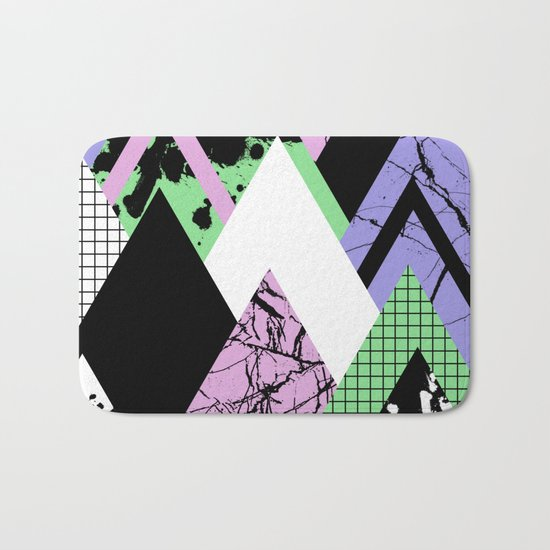 Textured Points - Marbled, pastel, black and white, paint splat textured geometric triangles Bath Mat