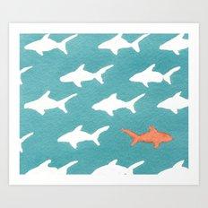 Splashy Sharks Art Print