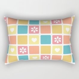 Girly Heart Square Pattern Retro Daisy Flowers Rectangular Pillow