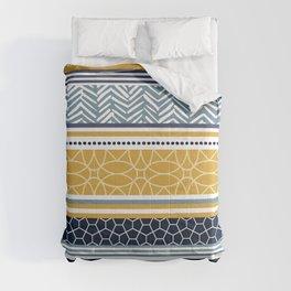 Boho Art Striped Pattern, Yellow and Blue Comforters