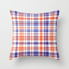 Florida University silhouette orange and blue pattern sports football college gators gator fan plaid Throw Pillow