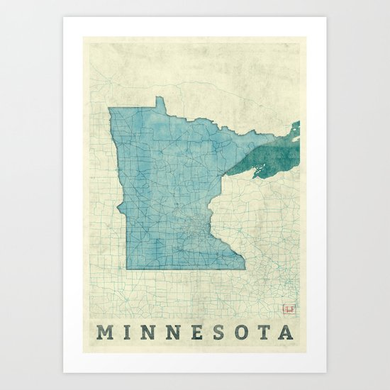 Minnesota State Map Blue Vintage Art Print