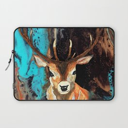 Deer and Acrylic Pour Pattern Laptop Sleeve
