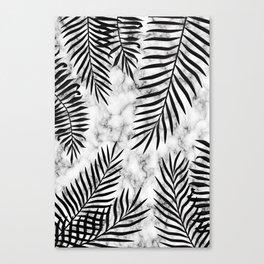 Black palm leaves on marble Canvas Print
