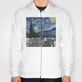 The Starry Night by Vincent Van Gogh and Paris view of the Tour Eiffel Hoody