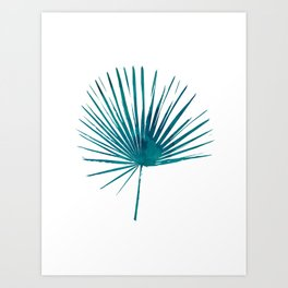 Green Blue Palm Print, Watercolour Plant Wall Art, Tropical Decor Art Print