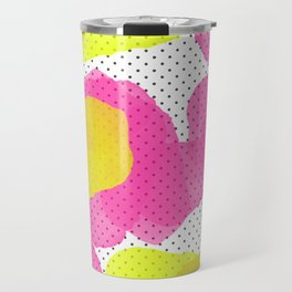 Sarah's Flowers - Abstract Watercolor on Polka Dots Travel Mug