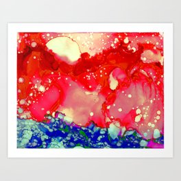 Sun Splash Red Blue Ink Abstract Painting Art Print
