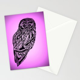 Drawing of an owl in pink and purple Stationery Cards
