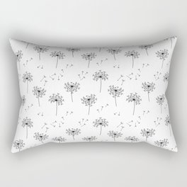 Dandelions in Black Rectangular Pillow