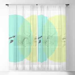 Keytar Platypus Venn Diagram Sheer Curtain