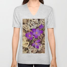 Crocuses and Druzy Quartz Unisex V-Neck