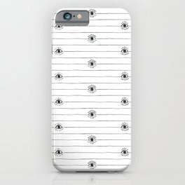 Striped eyeballs with full lashes iPhone Case