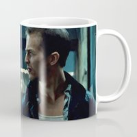 brad pitt Mugs featuring Edward Norton and Brad Pitt by Gabriel T Toro