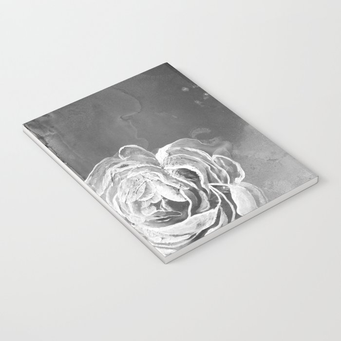 Mad Lucy's Golden Roses. Yellow Roses and Galaxy Blue in Black and White Shadow Notebook