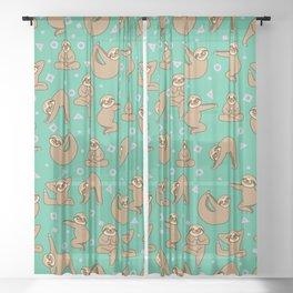 Cute Sloth Yoga Sheer Curtain