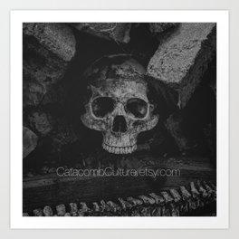 Catacomb Culture - Black and White Human Skull Art Print