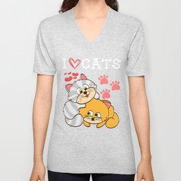 """A Cute Kitty Shirt For Cat Lovers Saying """"I Love Cats"""" Animal Animals T-shirt Design Meow Kitten Paw Unisex V-Neck"""