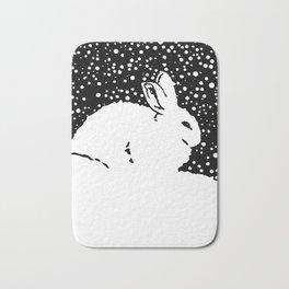 Snow Bunny Rabbit Holiday Winter Bath Mat