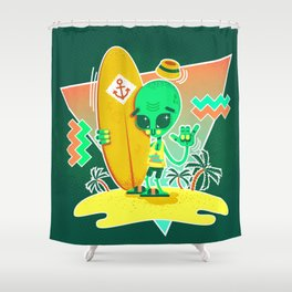 Alien Surfer Nineties Pattern Shower Curtain