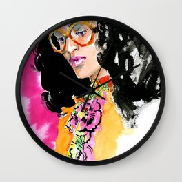 Fashion #17. girl in bright clothes and trendy glasses on pink background Wall Clock