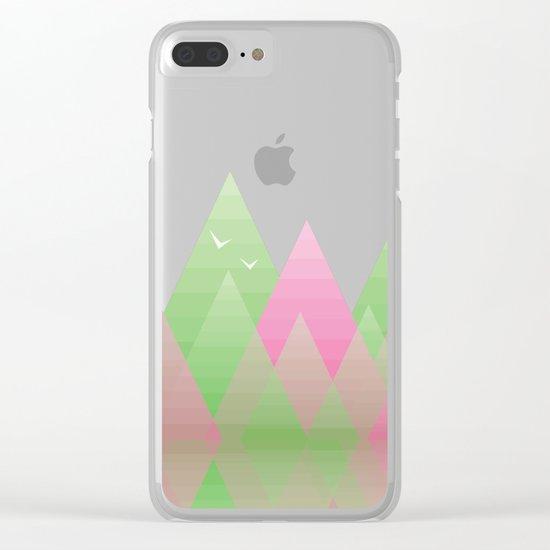 Geometric Lake Mountain I - Spring Clear iPhone Case