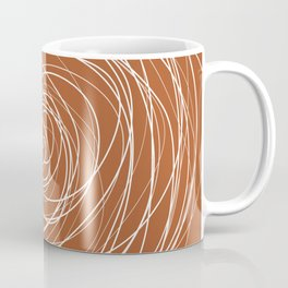 6-314-4n, Burnt Orange & White spirals messy lines, Abstract fabric design, Boho decor, Coffee Mug