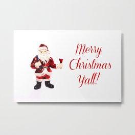 Merry Christmas Y'all Santa Metal Print