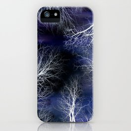 Abstract Midnight Trees Deep Blue iPhone Case