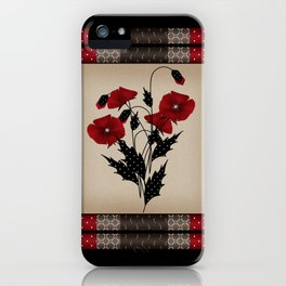 Flowers Art Poppies. Patchwork iPhone Case