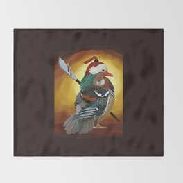 Warrior Duck Throw Blanket