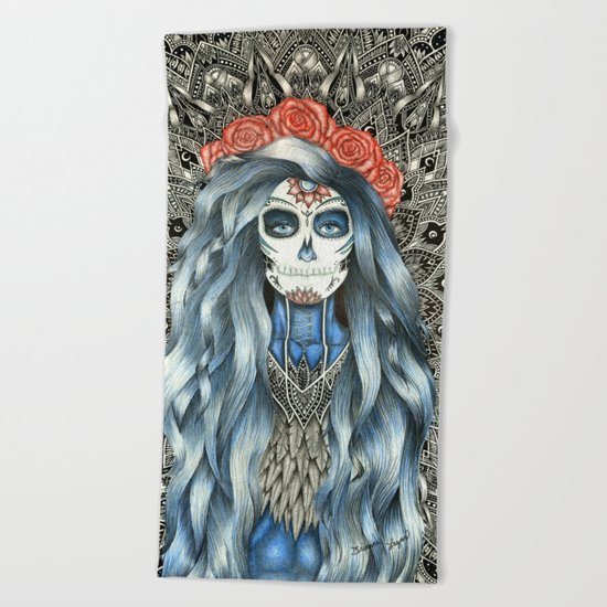 Full Page Day of the Dead Woman Mandala Beach Towel