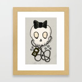 Girly Skull with Black Bow / Die for Music Framed Art Print
