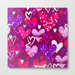 Pink hearts, love doodles Metal Print