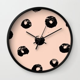 black & pale peach /geometric series 2 Wall Clock