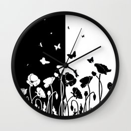 POPPIES AND BUTTERFLIES Wall Clock