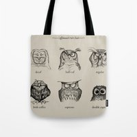 face Tote Bags featuring Caffeinated Owls by Dave Mottram