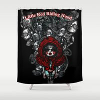 red riding hood Shower Curtains featuring Little Red Riding Hood by AKIKO