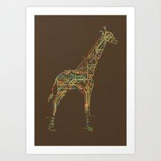 Electric Giraffe Art Print