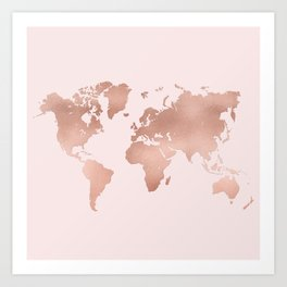 Rose Gold World Map Art Print