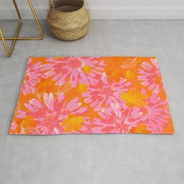 Flower Petals and Leaves in Orange and Pink Color palette Sunny mood #decor #society6 #buyart Rug