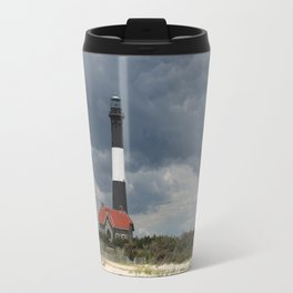 Dramatic Sky Over Fire Island Light Travel Mug